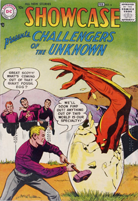 Origin and First Appearance, Challengers of the Unknown, Showcase #6, DC Comics, 1957. Click for values