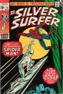 Silver Surfer #14 from the 1960s series saw a Spider-Man crossover. Click for value