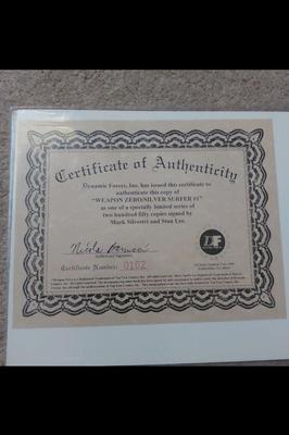 Silver Surfer Weapon Zero signed by Stan Lee, COA