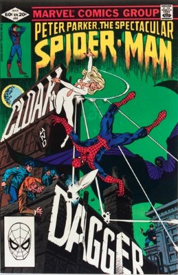 Origin and First Appearance, Cloak and Dagger, Peter Parker, the Spectacular Spider-Man #64, March, 1982. Click for values
