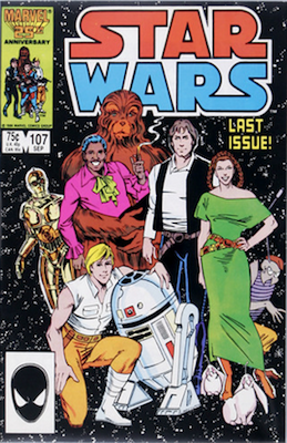 Star Wars comics #107: Last issue, low print run. Click for values