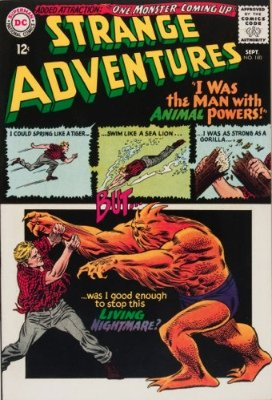 Origin and First Appearance, Animal Man, Strange Adventures #180, DC Comics, 1965. Click for values