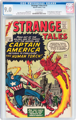 A nice clean CGC 9.0 copy of Strange Tales #114 is still under-priced in our opinion. Click to find yours