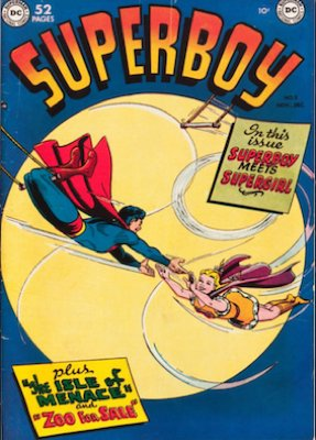 Tryout in Superboy #5 (November/December 1949): Queen Lucy, Supergirl. Click for values