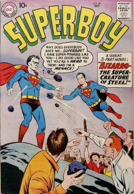 Hot Comics #59: Superboy #68, 1st Bizarro. Click to buy a copy (if you're lucky enough to find one...)