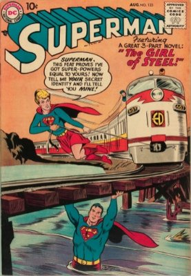 Hot Comics #88: Superman #123, 1st Supergirl Tryout. Click to buy a copy
