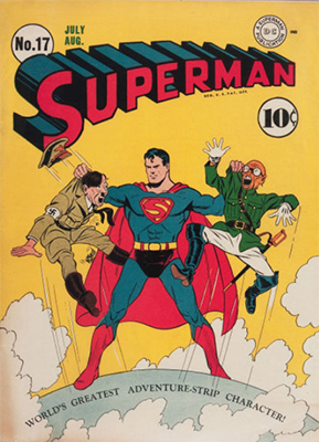 Superman #17: Hitler & Hirohito cover. 1st Fortress of Solitude. Click for values