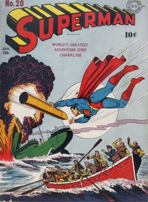 Superman #20: classic WWII cover. Click for values