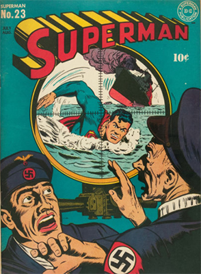 Superman #23: classic Nazi-themed WWII cover. Click for values