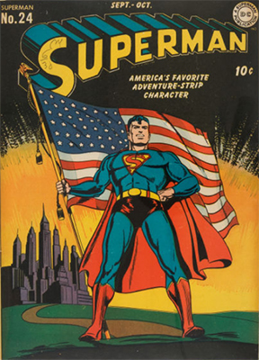 Superman #24: classic patriotic flag cover. Click for values