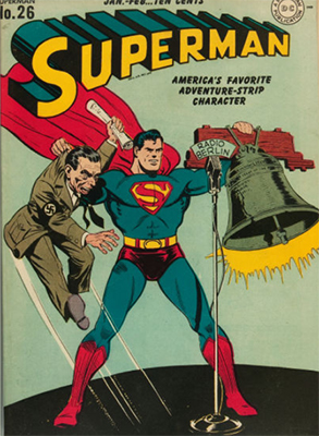 Superman 26: classic WWII cover featuring Goebbels. Click for values