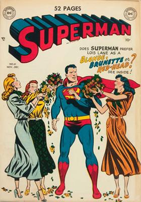 Superman comic books #61: Origin of Superman retold. Superman returns to Krypton, first appearance of green Kryptonite. Click for values