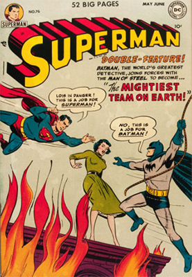 Superman Comics #76: Batman Crossover. First team up Superman and Batman. They learn each other's secret identities. Click for values
