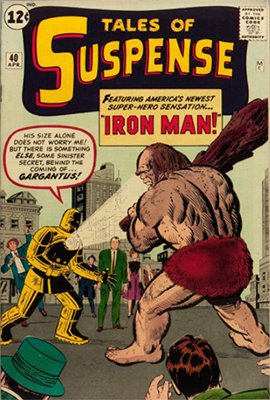 Tales of Suspense #40 (Apr 1963): First Gold Iron Man Armor. #35 on the Silver Age comics list. Click for values