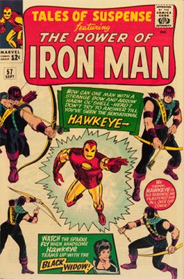 First Appearance, Hawkeye, Tales of Suspense #57, Marvel Comics, 1964. Click for value