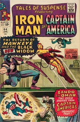 Tales of Suspense #64. First appearance of the Widow's Bite (Black Widow). Record sale: $2,100. Check values here