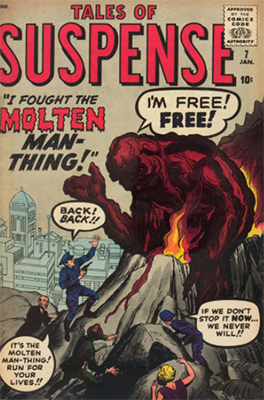 Origin and First Appearance, Molten Man-Thing, Tales of Suspense #7, Marvel Comics, 1960. Click for value