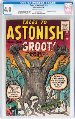 Tales to Astonish #13 is the 1st Groot appearance. Find it in CGC 4.0 if you can. Click to buy a copy