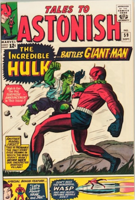 Tales to Astonish #59: Hulk vs Giant-Man, First Hulk Appearance in Title. Click for value