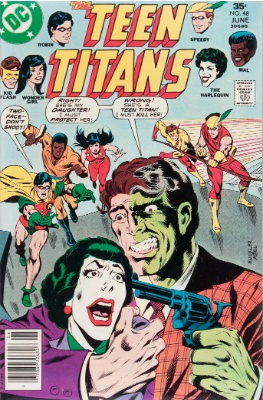 Teen Titans #48 (June, 1977): Joker's Daughter Becomes Harlequin; Father's Identity Revealed; Bumblebee Joins. Click for value