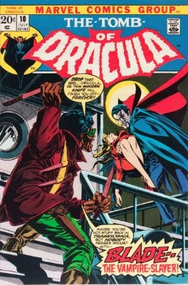 Tomb of Dracula #10 (February 1973): First appearance of Blade the Vampire slayer. Click for value