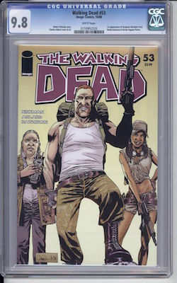 Walking Dead #53: 1st Abraham, Rosita and Eugene. Record sale in CGC 9.8 $250. Click to buy one
