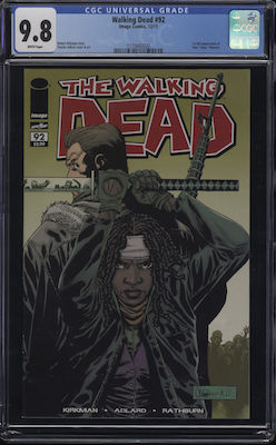Walking Dead #92; 1st Paul Jesus Monroe. Record sale in CGC 9.8 $180. Click to buy yours