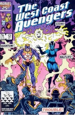 Origin and First Appearance, Halflife, West Coast Avengers vol.2 #12, Marvel Comics, 1986. Click for value
