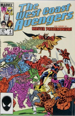 Origin and First Appearance, Master Pandemonium, West Coast Avengers #4, Marvel Comics, 1986. Click for value