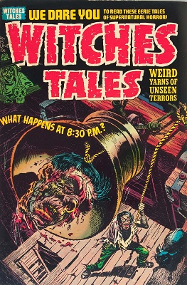 Witches' Tales #25 (1954): Controversial Decapitated Head as Bell Clapper cover! Click for value