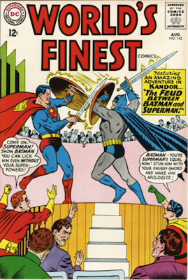 World's Finest #143: Batman and Robin team up with Nightwing and Flamebird. Click for values.