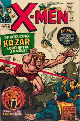 X-Men #10: 1st Silver Age appearance of Ka-Zar. Click for values